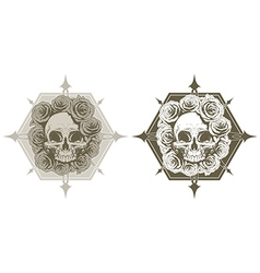 Cool skull with roses and spikes tattoo set vector