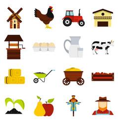 Farm set flat icons vector