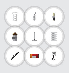 flat icon component set of crankshaft spare parts vector image vector image