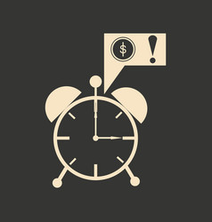 Flat in black white alarm clock and money vector