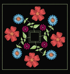 floral pattern over black background vector image vector image