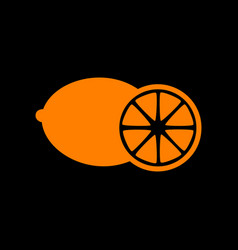 fruits lemon sign orange icon on black background vector image