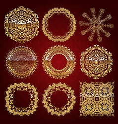 Gold mandala set red version vector