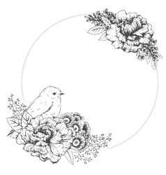 Hand drawn frame with bird vector