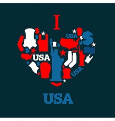I love America Sign heart of USA traditional folk vector image