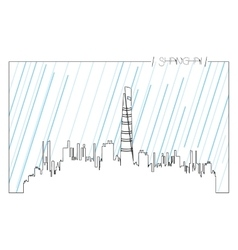 Isolated skyline of shanghai vector