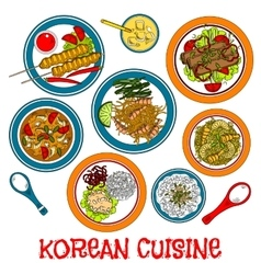 Korean grilled meat and seafood dishes sketch icon vector