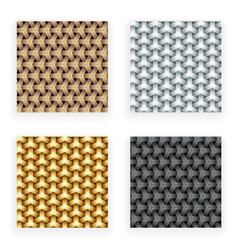 Metal gold silver copper seamless patterns set vector