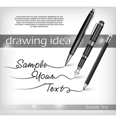 Pencil and pens signs text vector image vector image
