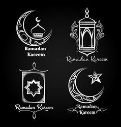ramadan kareem emblem set vector image vector image
