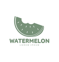 red and green logo template with stylized bitten vector image vector image