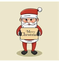 Santa claus hold merry christmas sign vector