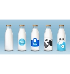 Set of icons glass bottles with a milk vector