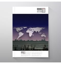 Shipyard and city landscape night design world vector