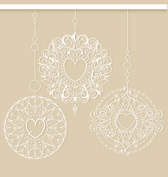 Snowflakes or christmas decorations hanging in a vector