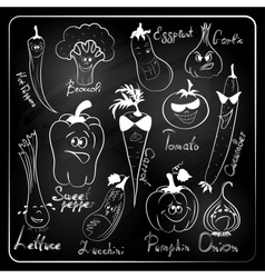 vegetable cartoon on chalkboard background vector image vector image