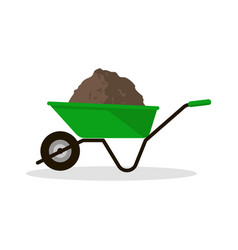 wheelbarrow with organic fertilizer vector image vector image