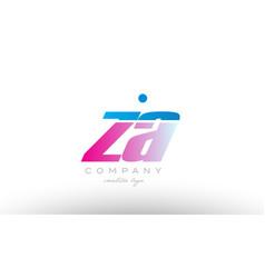 za z a alphabet letter combination pink blue bold vector image vector image