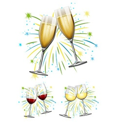 Wine glasses and champagne glasses vector image