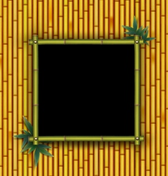 Bamboo frame on the bamboo background vector