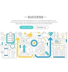 Elegant thin flat line success concept vector