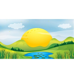Sunset view vector