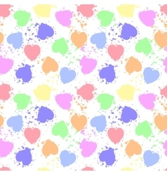 Various colors grunge hearts seamless pattern vector