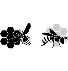 black bee silhouette isolated on white background vector image