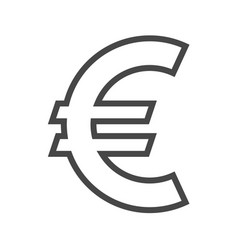 Euro sign thin line icon vector