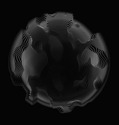 Abstract grayscale mesh sphere on vector