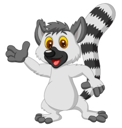 Lemur cartoon waving hand vector