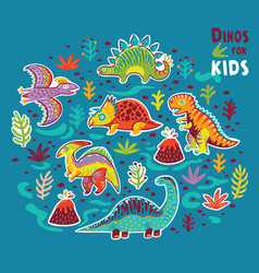cartoon sticker set of dinosaurs vector image