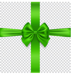 Green bow and ribbon isolated on transparent vector
