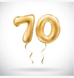 Golden number 70 seventy metallic balloon party vector