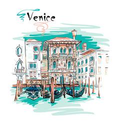 Palazzo on the grand canal in venice italia vector