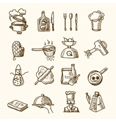 Cooking icons sketch vector