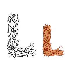 Leaf design uppercase letter l vector