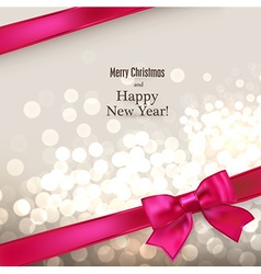 Christmas card with red gift bow vector