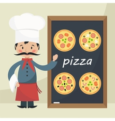 Funny chef pizza vector