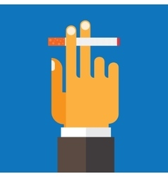 Hand holding a cigarette vector