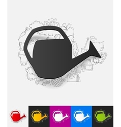 Watering can paper sticker with hand drawn vector