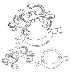 Set images with octopus isolated object vector image