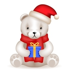 Realistic 3d teddy bear cub sit with new year gift vector