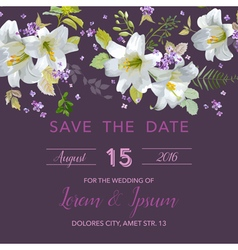 Wedding invitation card - with floral lily vector