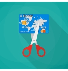 Cartoon scissors cutting a credit debit bank card vector