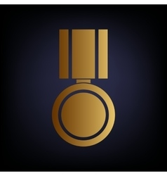 Medal sign golden style icon vector