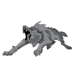 black and white engrave isolated wolf vector image