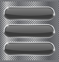 black oval buttons on metal perforated background vector image