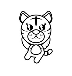 cartoon tiger animal outline vector image vector image