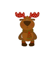 christmas deer isolated on white background vector image